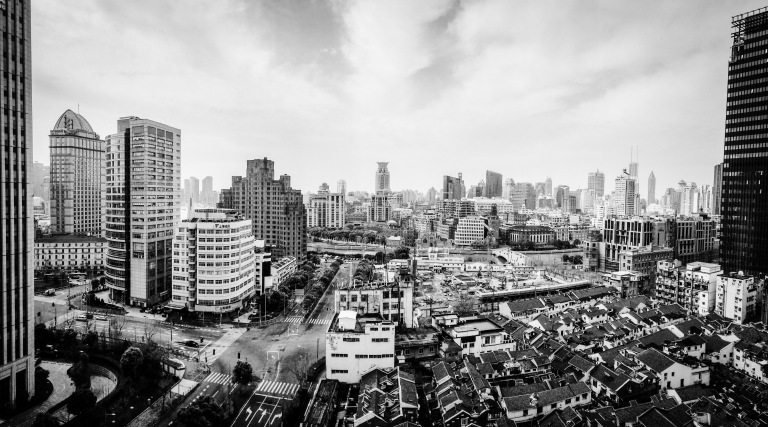Black and white photograph of northern Shanghai